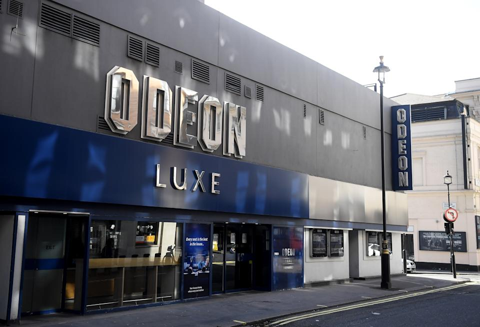 A general view of a Odeon Cinema in Leicester Square on March 21, 2020 in London, England. (Photo by Alex Davidson/Getty Images)