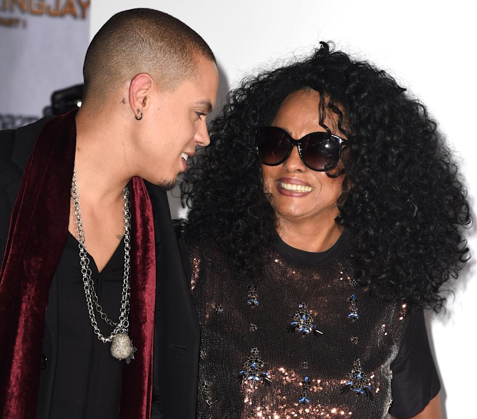 LOS ANGELES, CA - NOVEMBER 17:  Evan Ross and Diana Ross arrives at the