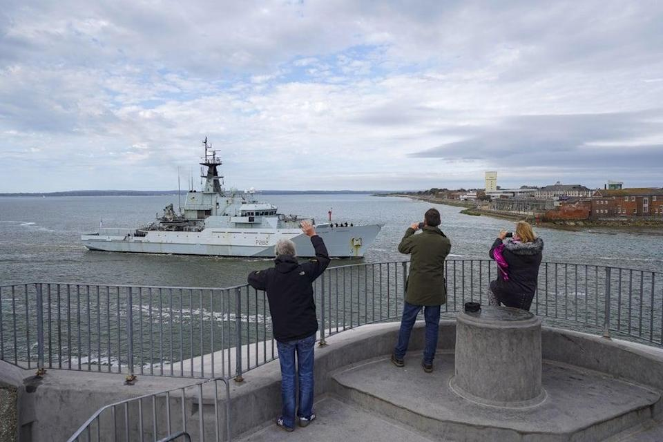 HMS Severn returns to Portsmouth from Jersey after it was scrambled to the protest by French fishermen over fishing rights (Steve Parsons/PA) (PA Wire)