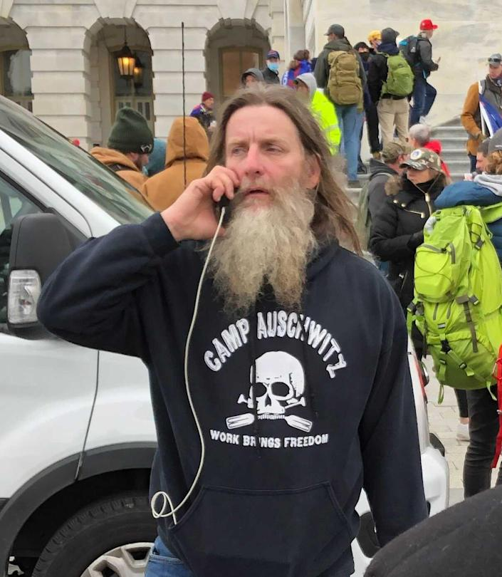 IMAGE: Man in 'Camp Auschwitz' shirt during Capitol riot (EOG)