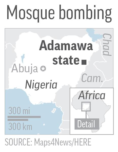 Map locates Adamawa state, Nigeria, where a suicide bombing at a mosque killed at least 20 people. SOURCE: Maps4News/HERE. Editor's Note: It is mandatory to include all sources that accompany this graphic when repurposing or editing it for publication.