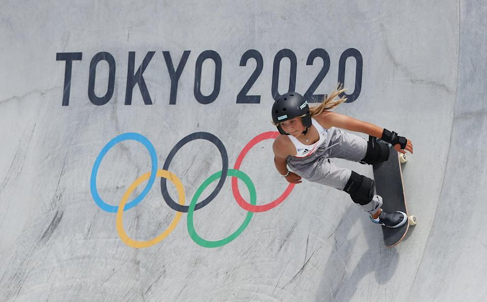 TOKYO, JAPAN - AUGUST 04: Sky Brown of Team Great Britain competes during the Women's Skateboarding Park Preliminary Heat on day twelve of the Tokyo 2020 Olympic Games at Ariake Urban Sports Park on August 04, 2021 in Tokyo, Japan.