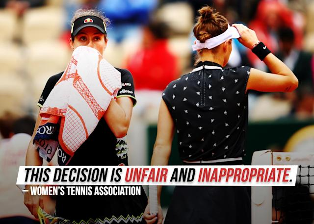 """The WTA <a href=""""https://sports.yahoo.com/wta-calls-french-open-officials-decision-to-put-womens-semis-on-outside-courts-unfair-and-inappropriate-205625836.html"""" data-ylk=""""slk:blasted a decision;outcm:mb_qualified_link;_E:mb_qualified_link;ct:story;g:undefined;"""" class=""""link rapid-noclick-resp yahoo-link"""">blasted a decision</a> to put the women's semifinals on smaller outside courts."""