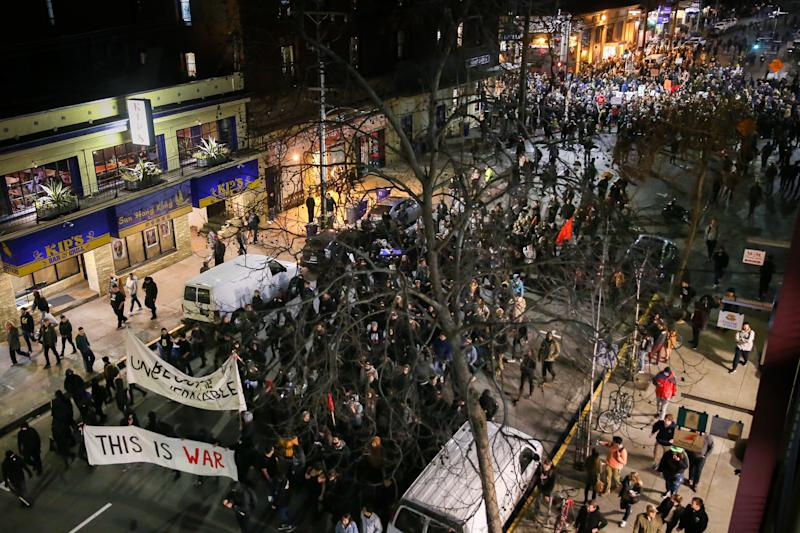 In Feb. 2017, the University of California Berkeley canceled aYiannopoulos speech after large protests broke out. (Photo by Elijah Nouvelage/Getty Images) (Elijah Nouvelage via Getty Images)