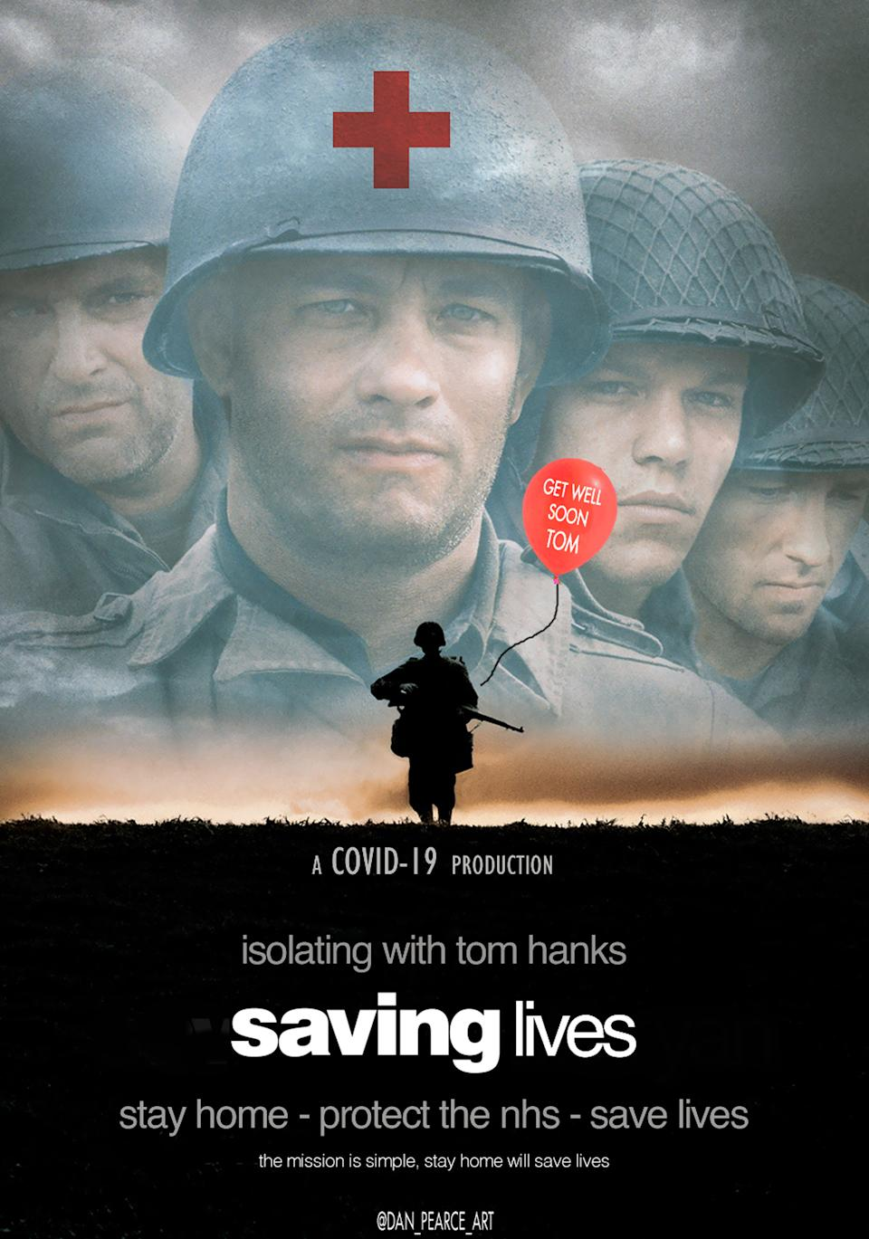 "Das Plakat des Kriegsepos ""Saving Private Ryan"" (dt. ""Der Soldat James Ryan"") wird nach der Bearbeitung von Pearce in ""Saving lives"" (dt. ""Rettet Leben"")."