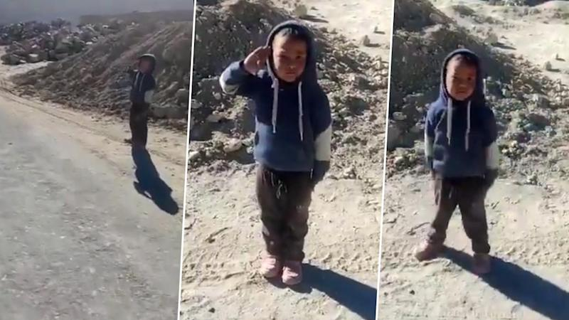 Little Kid's Enthusiastic Salute to Soldiers in Leh Will Make You Beam With Pride and Say 'Jai Hind!' (Watch Cute Video)