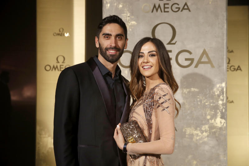BERLIN, GERMANY - MAY 02: Swimmer Magnini Filippo and Giorgia Palmas attend the OMEGA Tresor Event at Kraftwerk Mitte on May 2, 2018 in Berlin, Germany. (Photo by Franziska Krug/Getty Images for OMEGA)
