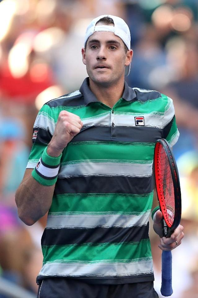 King of the jungle: John Isner on his way to victory over Milos Raonic (AFP Photo/MATTHEW STOCKMAN)