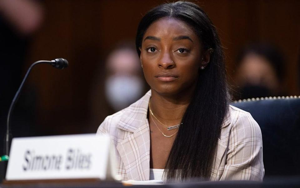 Simone Biles speaks at a hearing at the US Senate  (Getty Images)