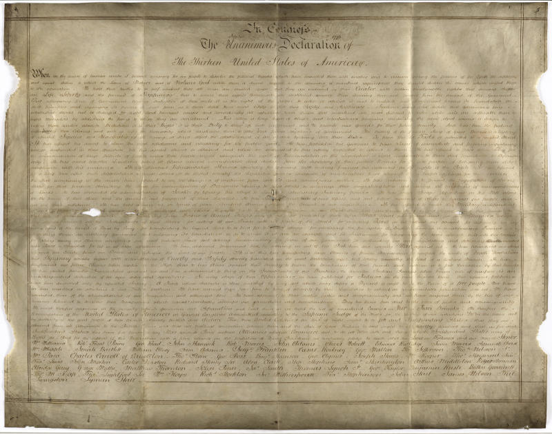 18th Century Parchment Copy of US Declaration of Independence Found in England