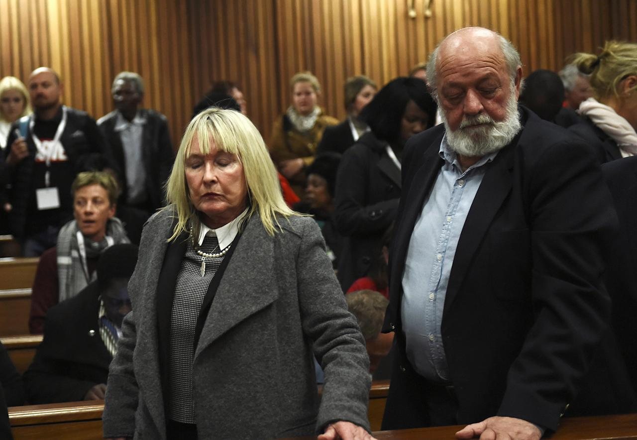 June and Barry Steenkamp react after the sentence hearing of Olympic and Paralympic track star Oscar Pistorius at the North Gauteng High Court in Pretoria, South Africa, July 6, 2016. REUTERS/Masi Losi/Pool