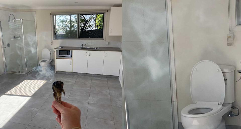 A toilet and shower are seen installed in the kitchen of a Gold Coast home.