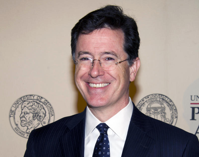 "FILE - In this May 21, 2012 file photo, TV personality and author Stephen Colbert attends the 71st Annual Peabody Awards in New York. Stephen Colbert says he loves the Roman Catholic Church no matter its human flaws.  The host of ""The Colbert Report"" talked about his faith Friday night, Sept. 14, 2012 at an event at Fordham University in New York.  (AP Photo/Charles Sykes, File)"