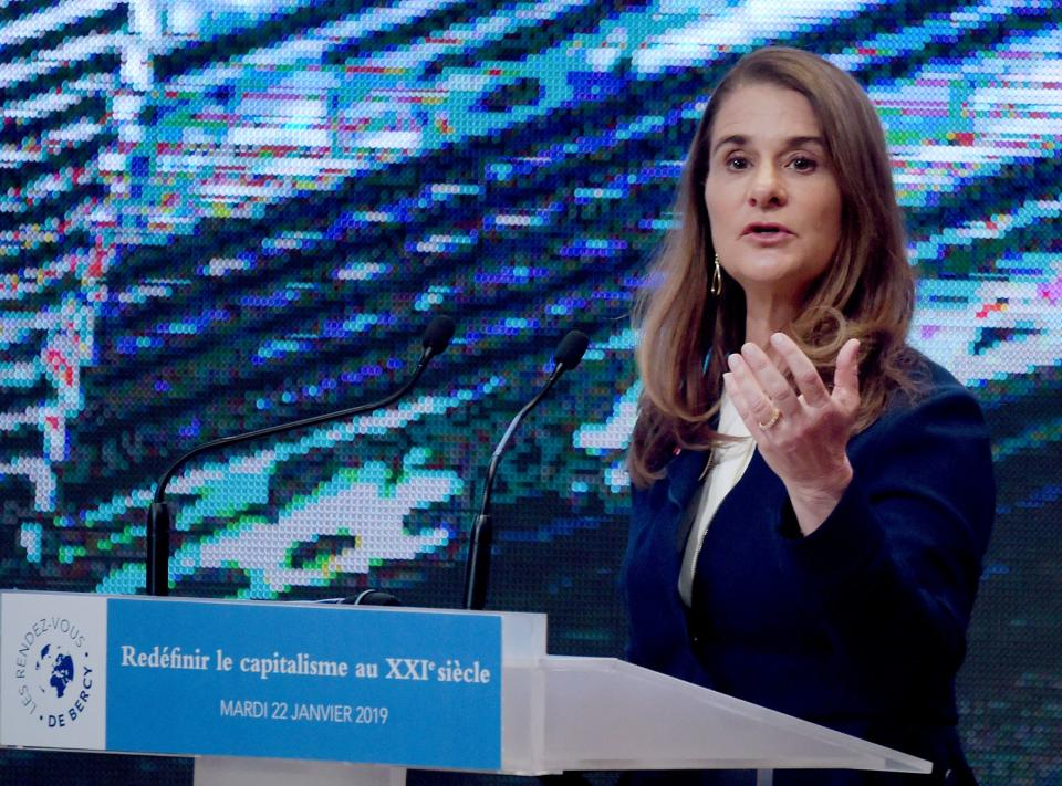 """Melinda Gates, co-Chair of the Bill and Melinda Gates Foundation, addresses the """"Rendez-Vous de Bercy"""" event at the economy ministry in Paris on January 22, 2019. (Photo by ERIC PIERMONT / AFP)        (Photo credit should read ERIC PIERMONT/AFP via Getty Images)"""