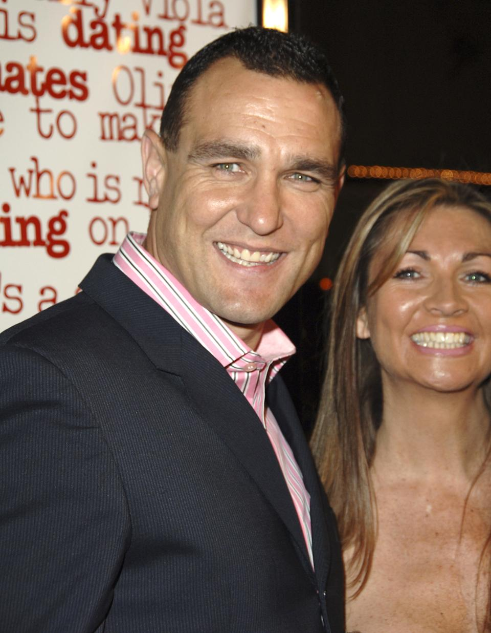 "Vinnie Jones and wife Tanya Jones during DreamWorks' ""She's the Man"" Los Angeles Premiere - Red Carpet at Mann's Village in Westwood, California, United States. (Photo by Jon Kopaloff/FilmMagic)"