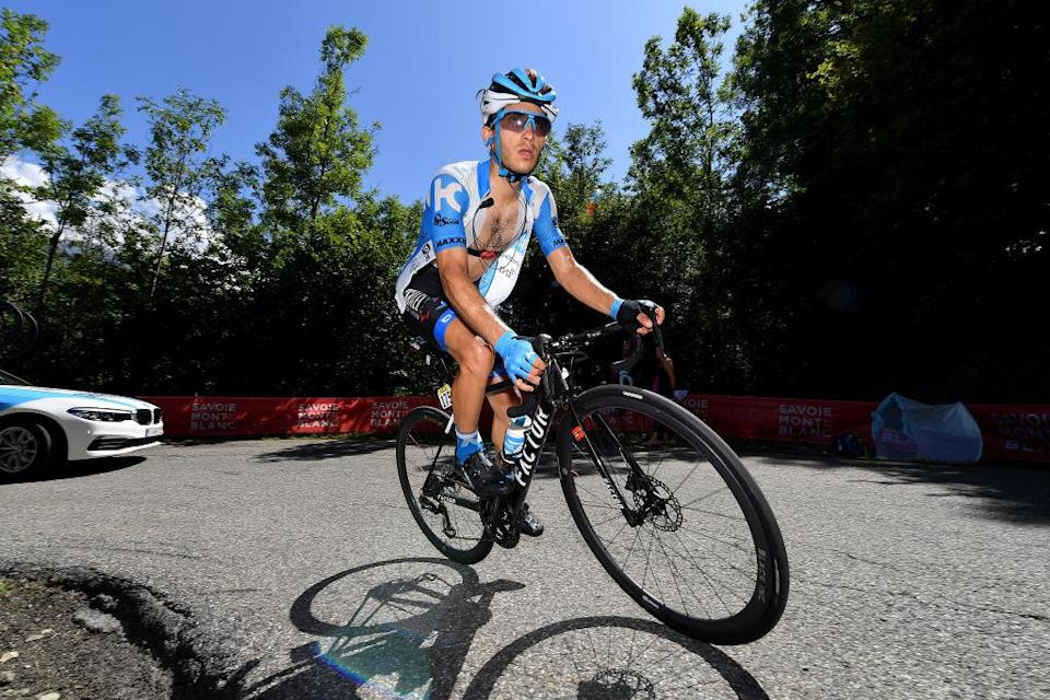 Israel Start-Up Nation's Guy Niv climbs during stage 3 of the 2020 Critérium du Dauphiné
