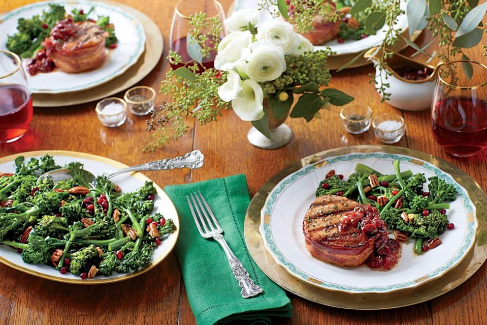 """<p><strong>Recipe: </strong><a href=""""https://www.southernliving.com/syndication/grilled-pork-loin-steaks-cherry-plum-sauce"""" rel=""""nofollow noopener"""" target=""""_blank"""" data-ylk=""""slk:Grilled Pork Loin Steaks with Cherry-Plum Sauce"""" class=""""link rapid-noclick-resp""""><strong>Grilled Pork Loin Steaks with Cherry-Plum Sauce</strong></a></p> <p>The pork loin roast is cut into eight 2-inch-thick slices, each wrapped in a thick cut of bacon and seasoned with olive oil, salt, pepper, and rosemary before grilling. The sweetness of the Cherry-Plum Sauce is kept in check with the addition of balsamic vinegar and Dijon mustard.</p>"""