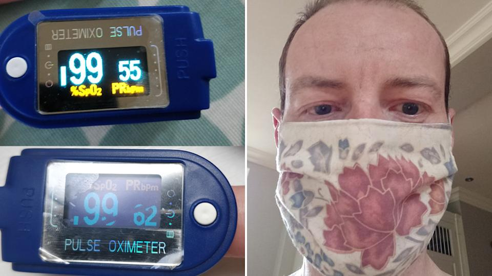 Dr Tom Lawton wear a face mask and monitoring his oxygen levels as he runs to work
