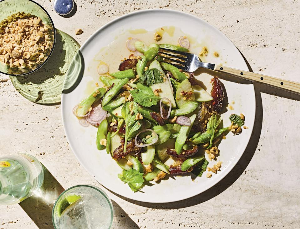 """Nothing against the classic snack, but Ants on a Log should really be a salad. Hold the raisins, and use sweet, chewy, earthy dates instead. <a href=""""https://www.epicurious.com/recipes/food/views/ants-on-a-log-celery-salad?mbid=synd_yahoo_rss"""" rel=""""nofollow noopener"""" target=""""_blank"""" data-ylk=""""slk:See recipe."""" class=""""link rapid-noclick-resp"""">See recipe.</a>"""