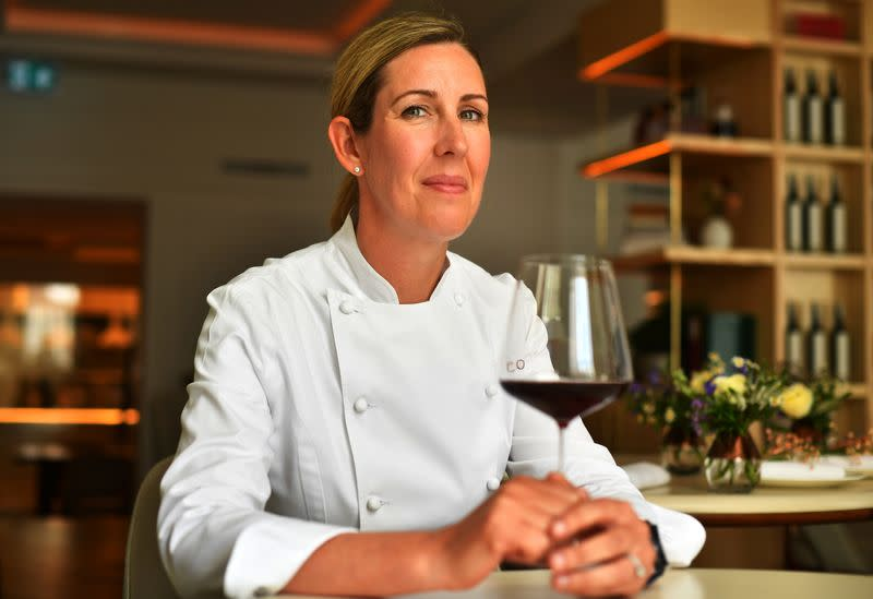 Britain's newest winner of three Michelin stars, Clare Smyth sits at her Core restaurant in London