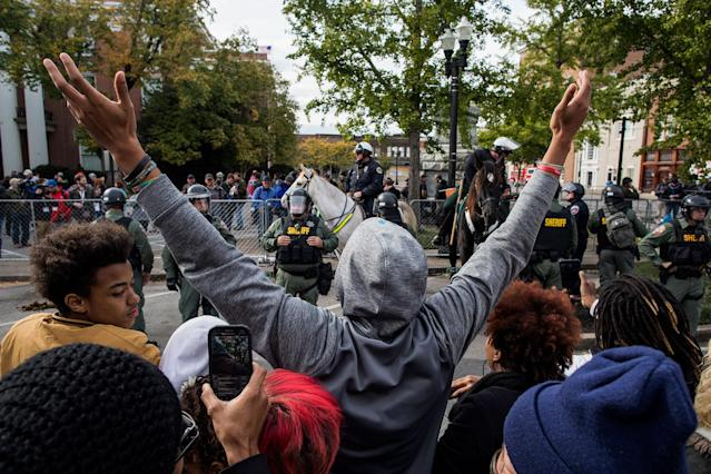 """<p>Counter-protesters demonstrate against a """"White Lives Matter"""" rally on Oct. 28, 2017 in Murfreesboro, Tenn. Tennessee Gov. Bill Haslam said state and local law enforcement officials would be out """"in full force"""" for the two white nationalist rallies. The event billed as a """"White Lives Matter"""" rally is hosted by Nationalist Front, which is a coalition of several white supremacist organizations. (Photo: Joe Buglewicz/Getty Images) </p>"""