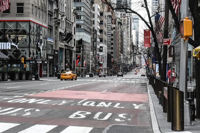 Fifth Avenue in Midtown Manhattan is mostly clear of traffic on Sunday in New York City.