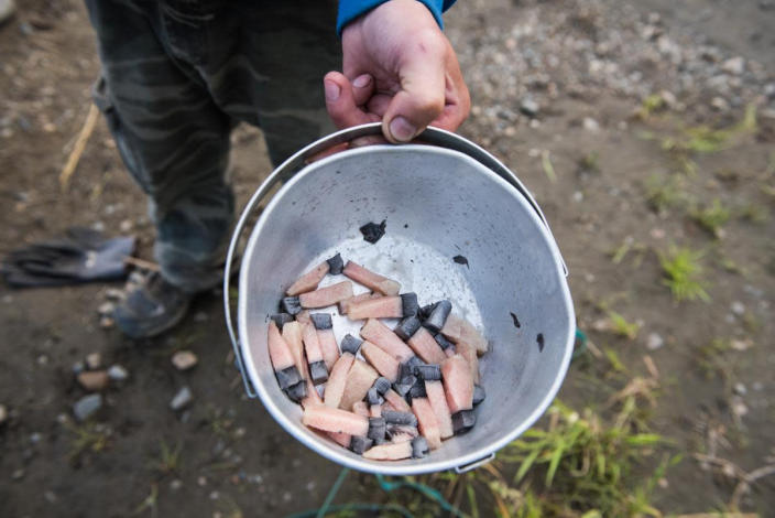 In this July 29, 2017 photo provided by KYUK-TV, Muktuk is boiled with salt and shared at the butcher site of a gray whale that swam up the Kuskokwim River. Indigenous hunters in Alaska initially believed they were legally hunting a beluga whale when they unlawfully killed a protected gray whale with harpoons and guns after the massive animal strayed into a river last year, according to a federal investigative report. The report, released to The Associated Press through a public records, says that after the shooting began, the hunters then believed the whale to be a bowhead and that the harvest would be theirs as the first to shoot or harpoon it. The National Oceanic and Atmospheric Administration decided not to prosecute the hunters. Instead it sent letters advising leaders in three villages about the limits to subsistence whaling. (Katie Basile/KYUK via AP)