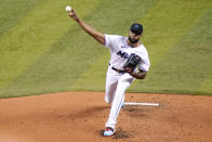 Miami Marlins starting pitcher Sandy Alcantara throws during the second inning of a baseball game against the Arizona Diamondbacks, Tuesday, May 4, 2021, in Miami. (AP Photo/Lynne Sladky)
