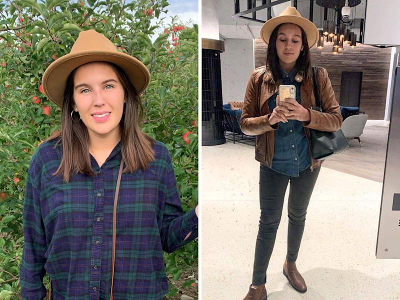 This $16 Amazon hat has become my go-to for all fall festivities — apple picking, foliage hikes and beer tastings — but I've also worn it to work.  (Photo: HuffPost)