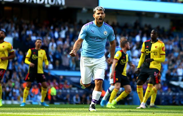Sergio Aguero and Manchester City are pummeling poor Watford. (Getty)