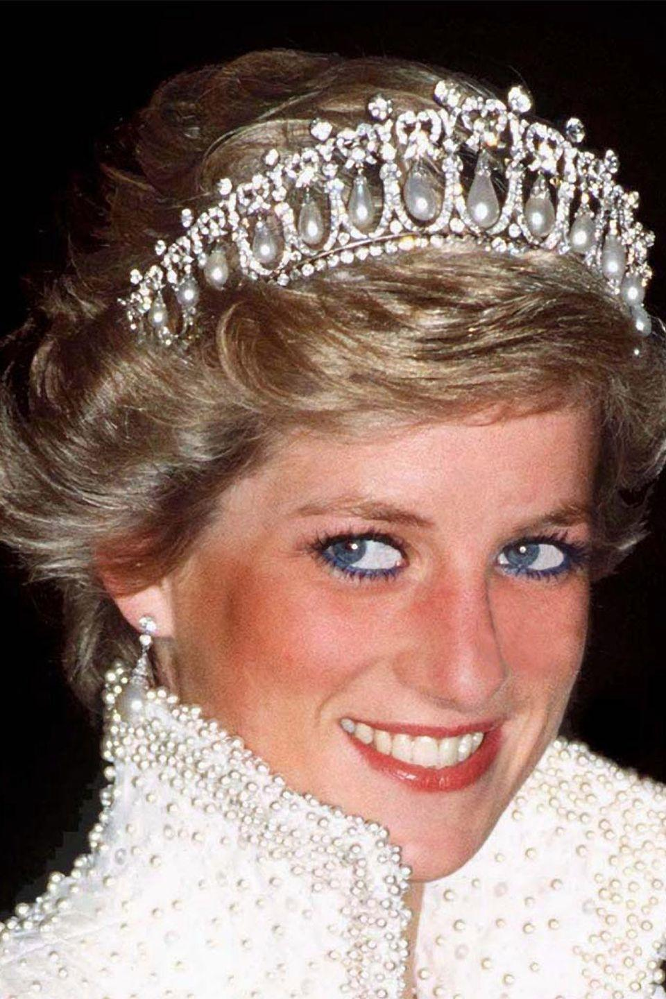 <p>Princess Diana in an ornate tiara from the crown jewels in 1989.</p>