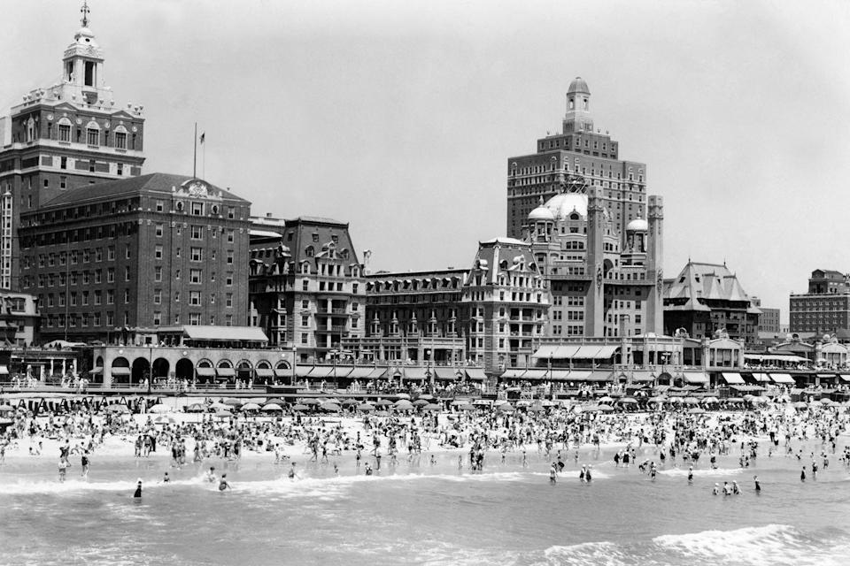 The Boardwalk And Old Time Hotels Are In The Background At Atlantic City circa 1940