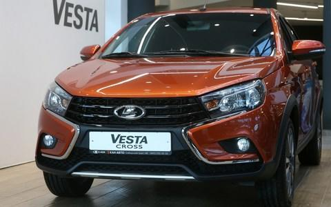 KAZAN, RUSSIA - JUNE 7, 2018: A new Lada Vesta Cross car during the sales launch at a LADA car dealership of KAN Avto Group of Companies, a partner of AvtoVAZ. Yegor Aleyev/TASS (Photo by Yegor Aleyev\\TASS via Getty Images) - Credit: Yegor Aleyev/TASS