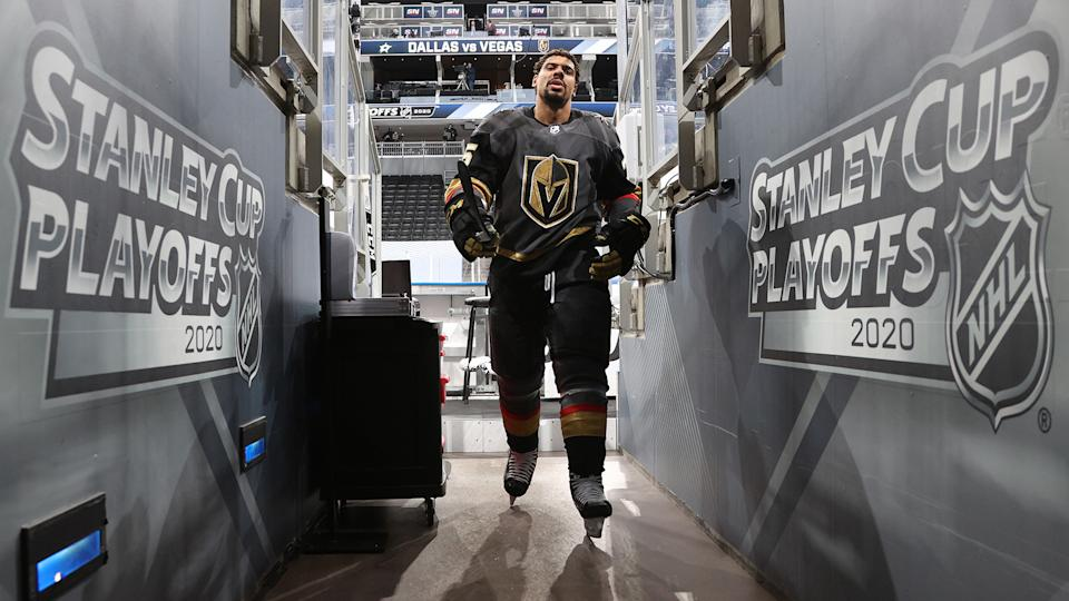EDMONTON, ALBERTA - SEPTEMBER 08: Ryan Reaves #75 of the Vegas Golden Knights walks back to the locker room after warm-up before Game Two of the Western Conference Final of the 2020 NHL Stanley Cup Playoffs between the Dallas Stars and the Vegas Golden Knights at Rogers Place on September 08, 2020 in Edmonton, Alberta. (Photo by Dave Sandford/NHLI via Getty Images)