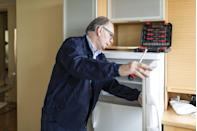 "<p>Break out the vacuum cleaner and brush attachment at least once a year to clean dust and hair from the grille at the bottom of the refrigerator and the condenser coils. ""Depending on the refrigerator model, the coils can be located behind the vent cover on the front of the unit or in the back,"" says Mike Bidwell, President and CEO of <a href=""https://www.neighborly.com/"" rel=""nofollow noopener"" target=""_blank"" data-ylk=""slk:Neighborly"" class=""link rapid-noclick-resp"">Neighborly</a>, a franchisor of home service brands. ""Cleaning the coils improves airflow to the condenser to boost refrigerator efficiency by about 3 to 5 percent. If you have indoor pets that shed, twice a year cleaning is recommended for your cleaning routine.""</p>"