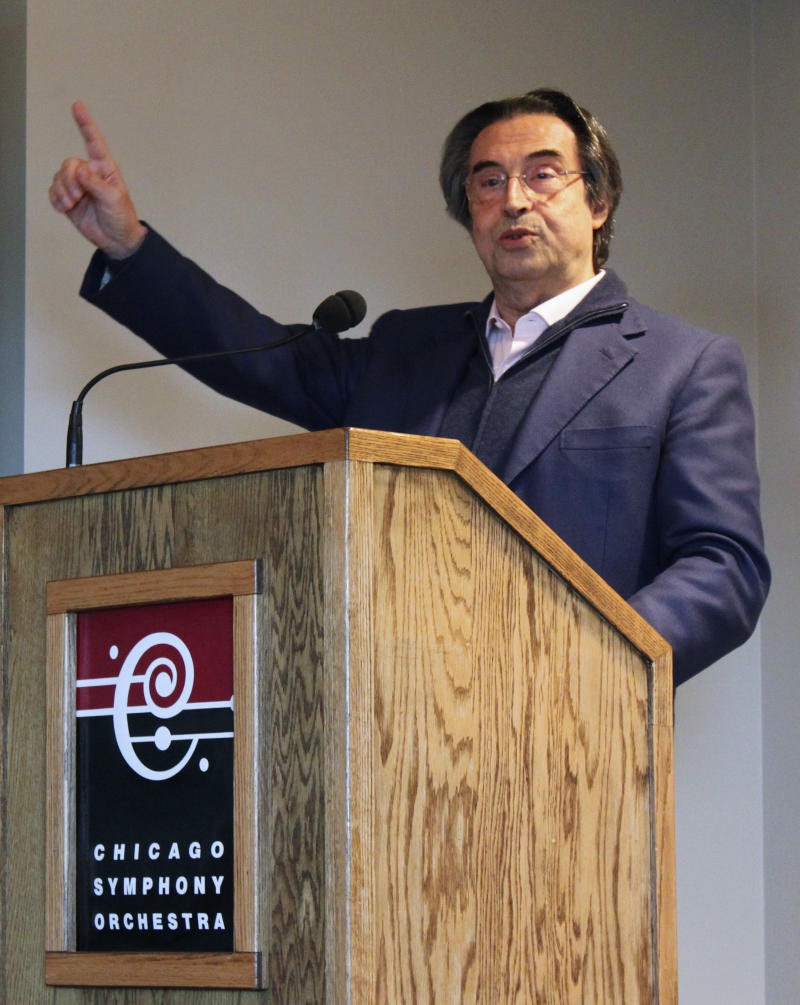 Riccardo Muti, music director of  the Chicago Symphony Orchestra, gestures during a news conference Wednesday, April 10, 2013, in Chicago. The famed Italian conductor is in Chicago preparing for three weeks of performances with the orchestra. He said the symphony's 2013-2014 season beginning this fall will focus on works by Schubert and Verdi. (AP Photo/Caryn Rousseau)