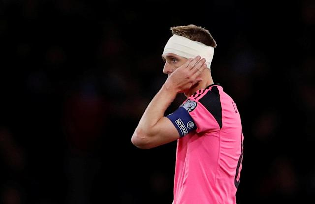 Soccer Football - 2018 World Cup Qualifications - Europe - Scotland vs Slovakia - Hampden Park, Glasgow, Britain - October 5, 2017 Scotland's Darren Fletcher after sustaining an injury to his ear Action Images via Reuters/Lee Smith