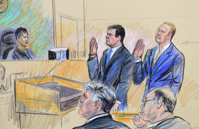A courtroom sketch shows President Trump's former campaign chairman, Paul Manafort, and a former business associate, Rick Gates, in federal court, Oct. 30, 2017. (Photo: Susan Walsh/AP)