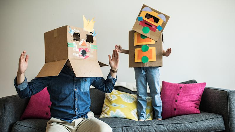 Using everyday things such as cardboard boxes is great for creative play
