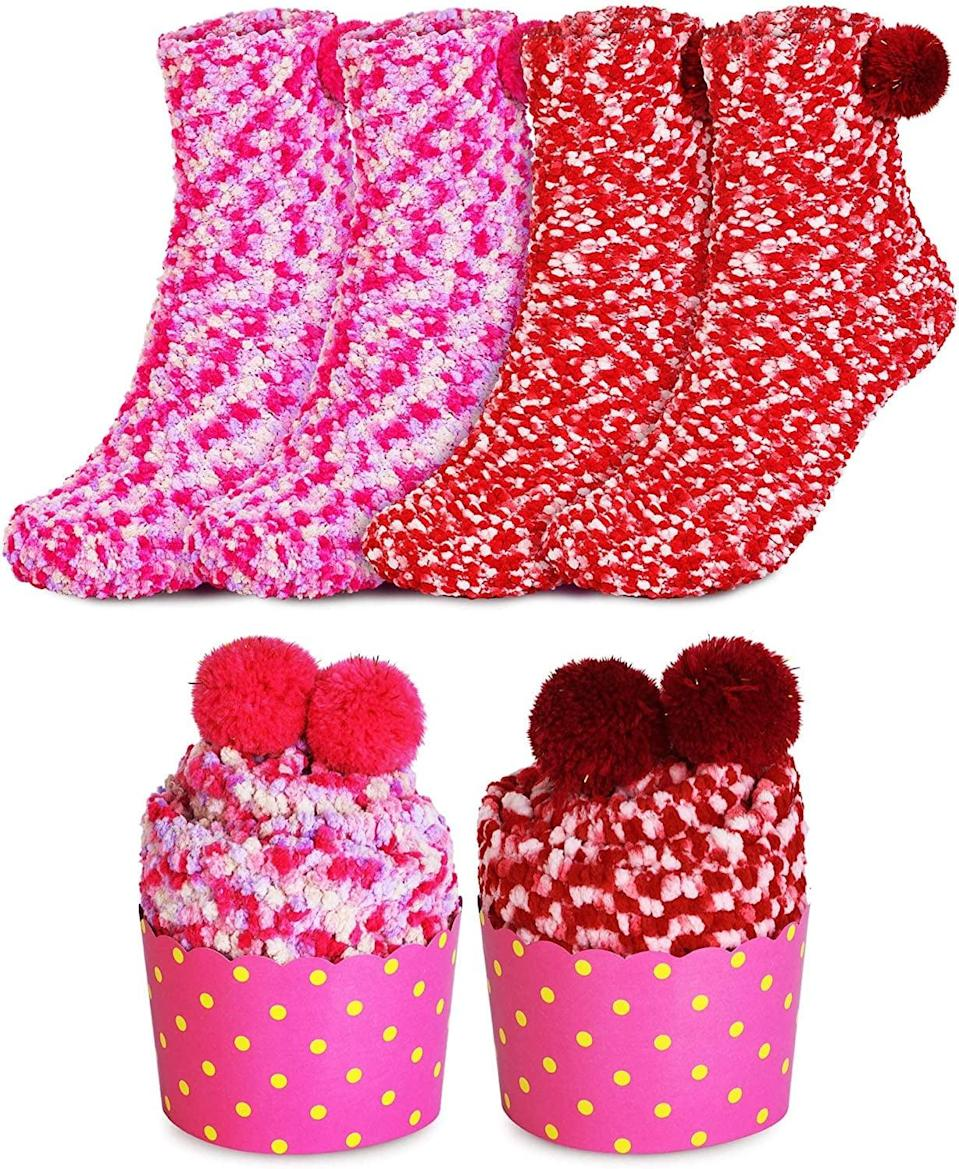 <p>These adorable and cozy <span>Valentine's Day Fuzzy Plush Socks (2 Pairs)</span> ($13) are so colorful and shaped like cupcakes!</p>