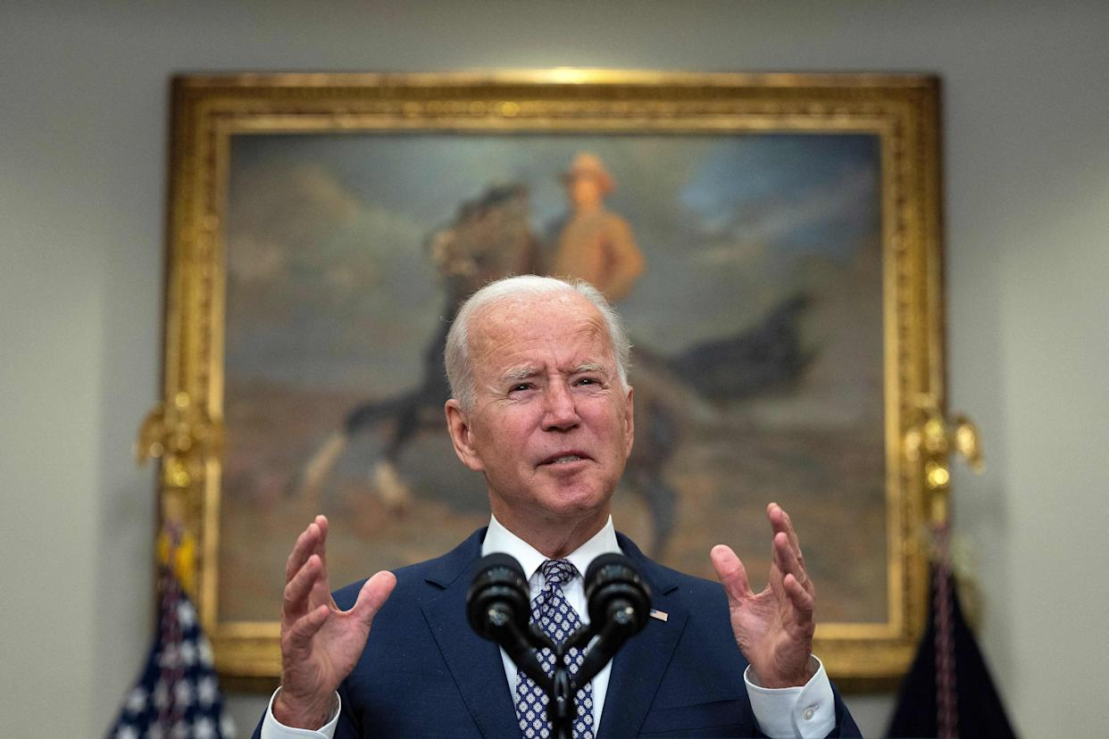 TOPSHOT - US President Joe Biden speaks about the ongoing evacuation of Afghanistan, on August 24, 2021, from the Roosevelt Room of the White House in Washington, DC. (Photo by JIM WATSON / AFP) (Photo by JIM WATSON/AFP via Getty Images)