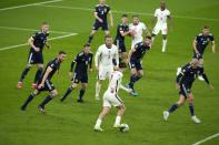 England's Jack Grealish controls the ball during the Euro 2020 soccer championship group D match between England and Scotland, at Wembley stadium, in London, Friday, June 18, 2021. The match ended 0-0. (AP Photo/Matt Dunham, Pool)