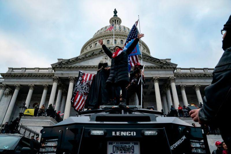 Supporters of President Donald Trump protest outside the US Capitol on January 6, 2021, in Washington, D.C. Demonstrators breeched security and entered the Capitol as Congress debated the a 2020 Electoral College vote certification.