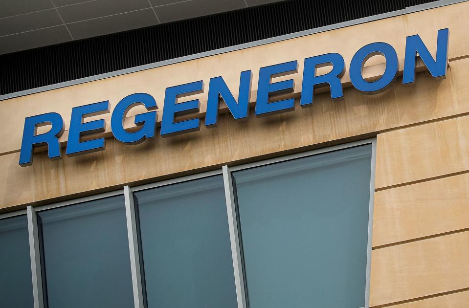 The Regeneron Pharmaceuticals company logo is seen on a building at the company's Westchester campus in Tarrytown, New York, U.S. September 17, 2020. Picture taken September 17, 2020. REUTERS/Brendan McDermid