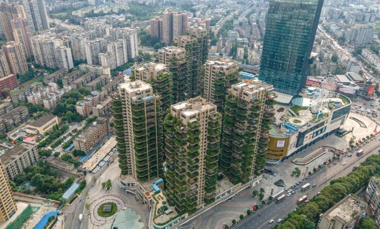 Chengdu's Qiyi City Forest Garden, which opened in southwestern China in 2018, offers a greener version of life in a megacity