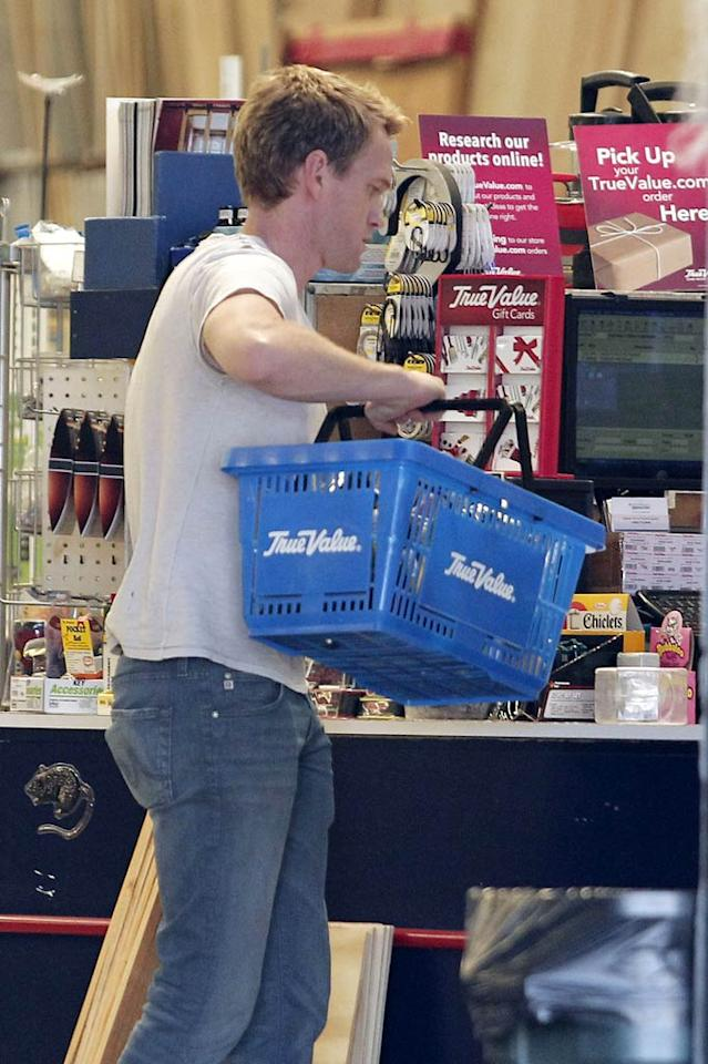 """""""How I Met Your Mother"""" star Neil Patrick Harris hit up a Los Angeles hardware store on Friday where he picked up wooden stakes and plywood. Could he have been working on a Halloween project? (10/28/2011)"""