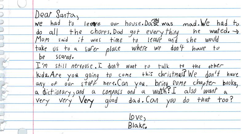 Domestic violence shelter shares 7-year-old boy's heartbreaking letter to Santa