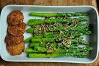 """<div class=""""caption-credit""""> Photo by: Sarah Shatz</div><div class=""""caption-title"""">Thai-Inspired Asparagus Salad</div>This little salad's flavors come at you head first, hitting you with bursts of chili and jalapeno, sprays of cilantro and lemongrass and blows of lime. - Amanda & Merrill <br> <i><b><a rel=""""nofollow noopener"""" href=""""http://food52.com/recipes/3955_thaiinspired_asparagus_salad_with_fried_meyer_lemon"""" target=""""_blank"""" data-ylk=""""slk:Get the recipe"""" class=""""link rapid-noclick-resp"""">Get the recipe</a></b>.</i>"""