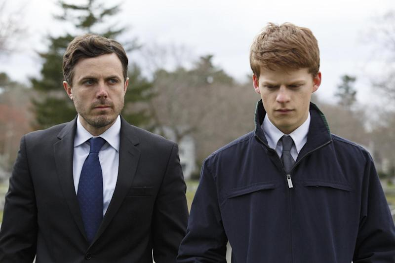 "This image released by Roadside Attractions and Amazon Studios shows Lucas Hedges, right, and Casey Affleck in a scene from ""Manchester By The Sea."" The film has been named best film by the National Board of Review, which lavished four awards on Kenneth Lonergan's New England portrait of grief. In awards announced Tuesday by the National Board of Review, ""Manchester by the Sea"" also took best actor for Casey Affleck's lead performance, best screenplay for Lonergan's script and best supporting actor for the breakout performance by Lucas Hedges. (Claire Folger/Roadside Attractions and Amazon Studios via AP)"