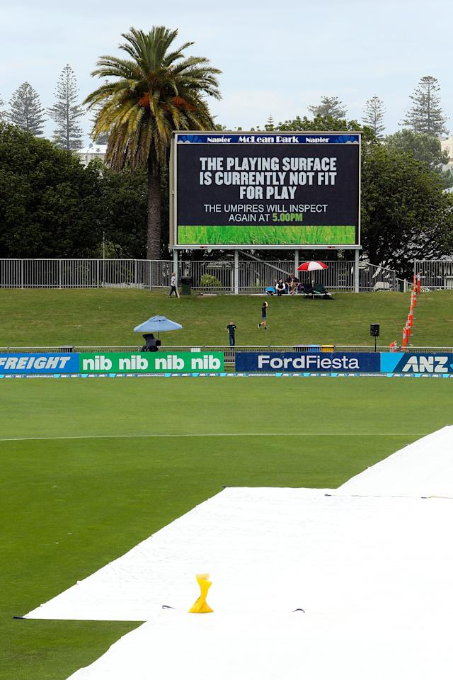 NAPIER, NEW ZEALAND - DECEMBER 29:  A message is displayed on the big screen during a rain delay prior to game two of the One Day International series between New Zealand and the West Indies at McLean Park on December 29, 2013 in Napier, New Zealand.  (Photo by Hagen Hopkins/Getty Images)
